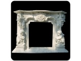 White Marble Fireplace With Carved